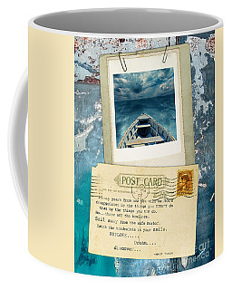 Poloroid Of Boat With Inspirational Quote Coffee Mug by Jill Battaglia
