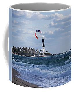Pompano Beach Kiteboarder Hillsboro Lighthouse Coffee Mug