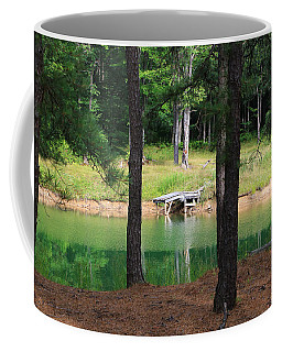 Coffee Mug featuring the photograph Pond Side Dock by Rick Morgan