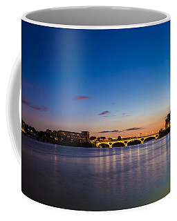 Coffee Mug featuring the photograph Pont Des Catalans And Garonne River At Night by Semmick Photo