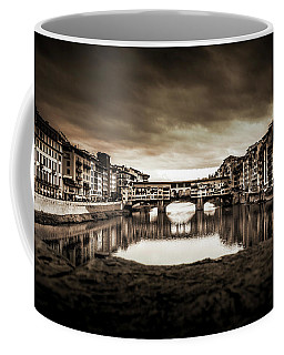 Coffee Mug featuring the photograph Ponte Vecchio In Sepia by Sonny Marcyan