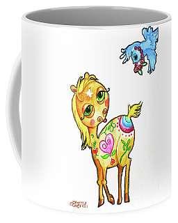 Pony And The Bluebird Watercolor Pencil Art Coffee Mug