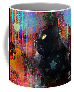 Pop Art Black Cat Painting Print Coffee Mug