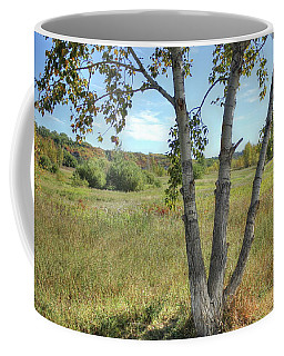 Poplar Tree In Autumn Meadow Coffee Mug