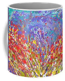 Poppies Abstract Meadow Painting Coffee Mug