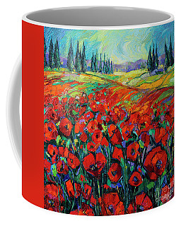 Poppies And Cypresses - Modern Impressionist Palette Knives Oil Painting Coffee Mug