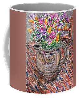 Poppies And Lupines In Pitcher Coffee Mug by Gerhardt Isringhaus
