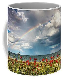 Poppies And Rainbow By The Sea Coffee Mug