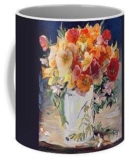 Poppies, Clematis, And Daffodils In Porcelain Vase. Coffee Mug