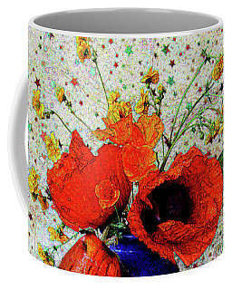 Coffee Mug featuring the photograph Poppies In Blue Jug by Nareeta Martin