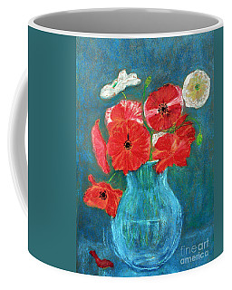 Poppies In Turquoise Coffee Mug