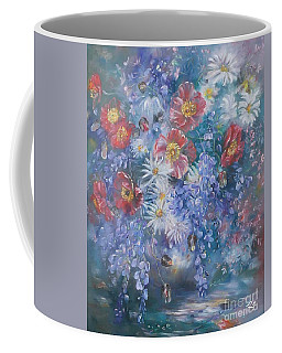 Poppies, Wisteria And Marguerites Coffee Mug