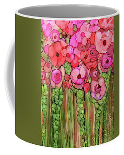 Coffee Mug featuring the mixed media Poppy Bloomies 1 - Pink by Carol Cavalaris