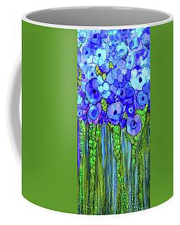 Coffee Mug featuring the mixed media Poppy Bloomies 2 - Blue by Carol Cavalaris