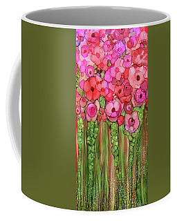 Coffee Mug featuring the mixed media Poppy Bloomies 2 - Pink by Carol Cavalaris