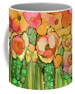 Coffee Mug featuring the mixed media Poppy Bloomies 3 - Orange by Carol Cavalaris