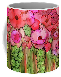 Coffee Mug featuring the mixed media Poppy Bloomies 3 - Pink by Carol Cavalaris
