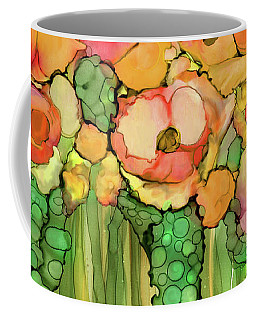 Coffee Mug featuring the mixed media Poppy Bloomies 4 - Orange by Carol Cavalaris
