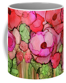 Coffee Mug featuring the mixed media Poppy Bloomies 4 - Pink by Carol Cavalaris