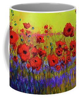 Poppy Flower Field Oil Painting With Palette Knife Coffee Mug