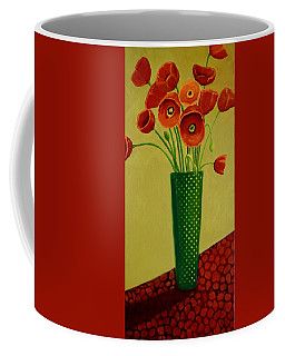 Coffee Mug featuring the painting Poppy Power by Nancy Jolley