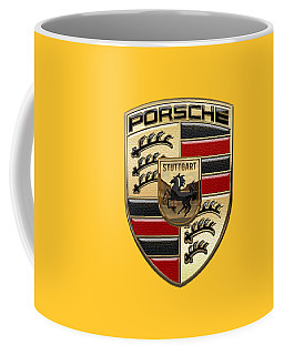 Porsche - 3d Badge On Yellow Coffee Mug