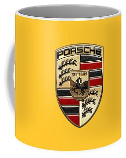 Porsche - 3d Badge On Yellow Coffee Mug by Serge Averbukh