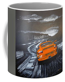 Coffee Mug featuring the painting Porsche Gt3 @ Le Mans #3 by Richard Le Page