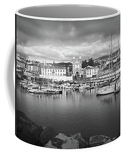 Coffee Mug featuring the photograph Port Of Angra Do Heroismo, Terceira Island, The Azores In Black And White by Kelly Hazel