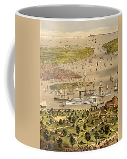Port Of New York, Birds Eye View From The Battery Looking South, Circa 1878 Coffee Mug