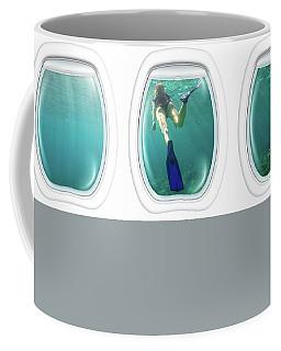 Porthole Windows On Coral Reef Coffee Mug