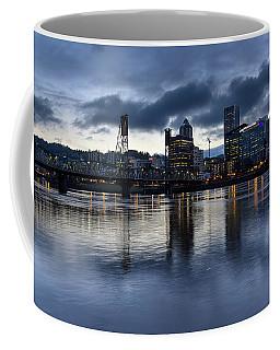 Portland City Skyline With Hawthorne Bridge At Dusk Coffee Mug