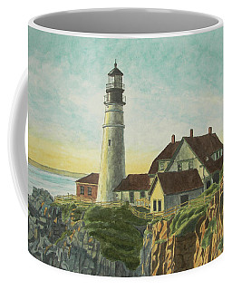 Coffee Mug featuring the painting Portland Head Light At Sunrise by Dominic White