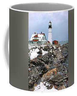 Coffee Mug featuring the photograph Portland Head Light In Winter by Olivier Le Queinec