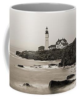 Portland Head Lighthouse Foggy Morning Sepia Coffee Mug
