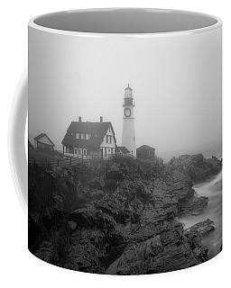 Portland Head Lighthouse In Fog Black And White Coffee Mug