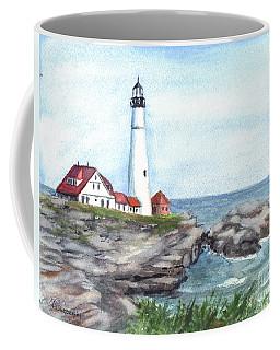 Coffee Mug featuring the painting Portland Head Lighthouse Maine Usa by Carol Wisniewski