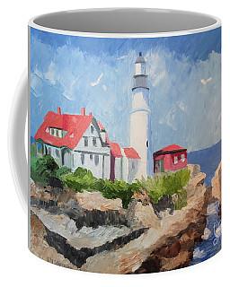 Portland Headlight By The Sea Coffee Mug