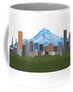Portland Oregon Skyline Color Illustration Coffee Mug