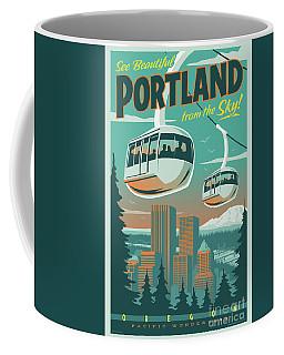 Portland Poster - Tram Retro Travel Coffee Mug