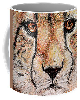 Coffee Mug featuring the drawing Portrait Of A Cheetah by Heidi Kriel