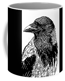 Portrait Of A Crow With Head Turned Looking In Black And White I Coffee Mug