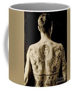 Portrait Of A Man With An Elaborate Back Piece Tattoo Coffee Mug