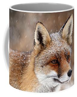 Portrait Of A Red Fox In A Snow Storm Coffee Mug