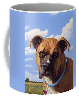 Coffee Mug featuring the painting Portrait Of A Sweet Boxer by James W Johnson