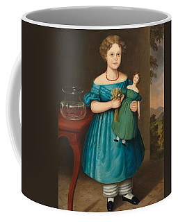 Portrait Of Amy Philpot In A Blue Dress With Doll And Goldfish Coffee Mug