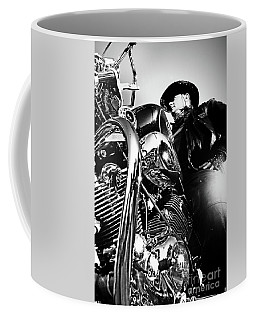 Portrait Of Biker Man Sitting On Motorcycle - Black And White Coffee Mug