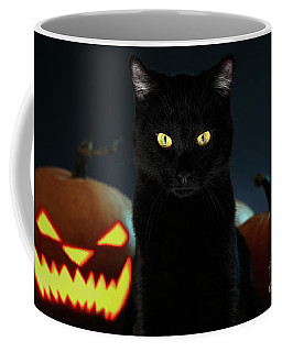 Portrait Of Black Cat With Pumpkin On Halloween Coffee Mug