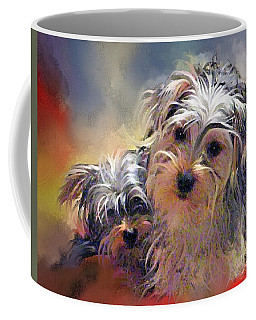 Portrait Of Yorkshire Terrier Puppy Dogs Coffee Mug