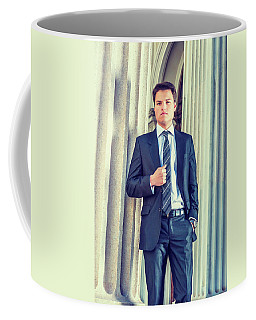 Coffee Mug featuring the photograph Portrait Of Young Businessman 15042512 by Alexander Image